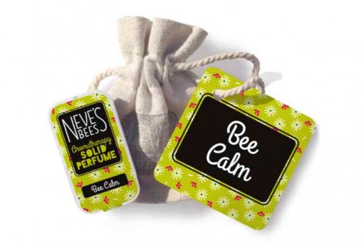 Bee Calm Solid Perfume with bag and tag from Neve's Bees