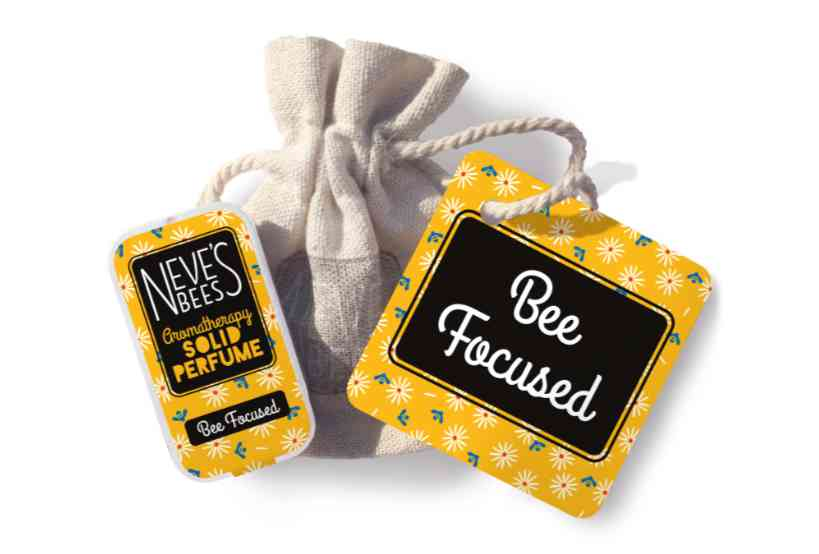 Bee Focused Solid Perfume with bag and tag from Neve's Bees