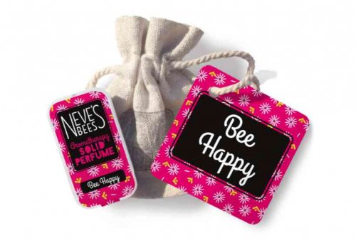Bee Happy Solid Perfume with bag and tag from Neve's Bees