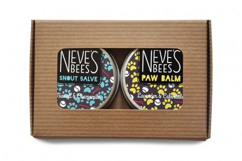 Dog Products gift box from Neve's Bees. Dry dog paws no more.