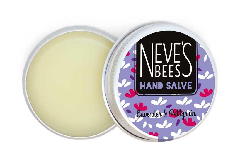 Neve's Bees Lavender & Pettigrain Hand Salve (Open) for dry hands