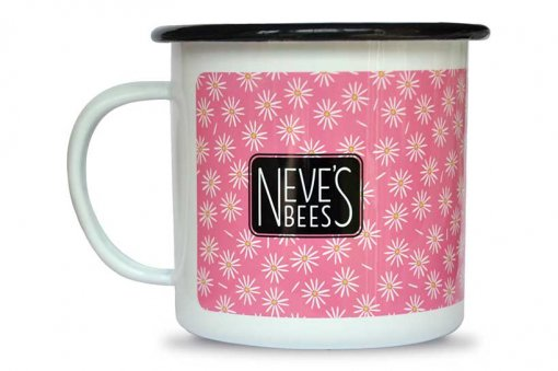 Neve's Bees Happy Vibes Enamel mugs back view