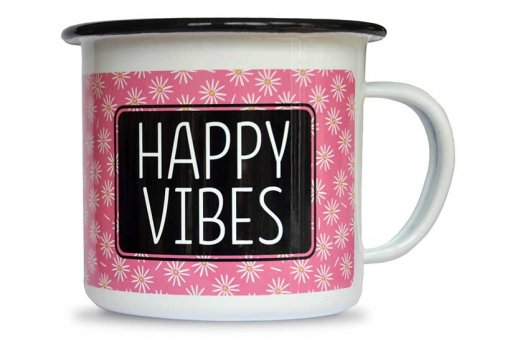 Neve's Bees Happy Vibes Enamel mugs front view