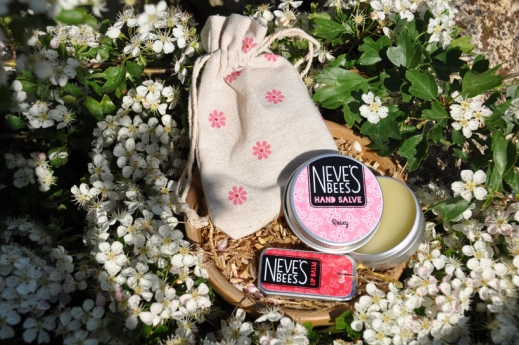 Neve's Bees Rose Lovers' Lip Balm and Hand Salve Gift Bag
