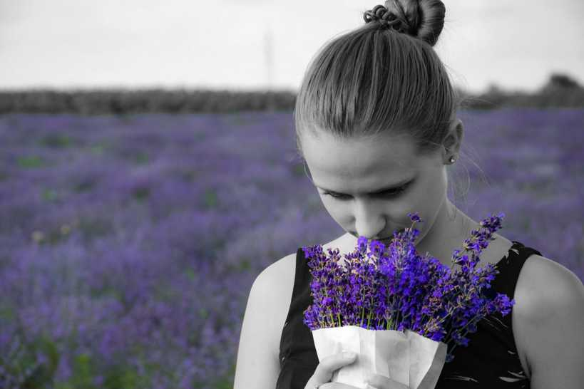 Natural skin care illustrated with woman in field of lavander